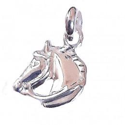 Pendentif petite tête de cheval en argent 925°/00 + chaîne 1cm diam
