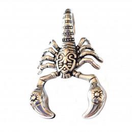Grand pendentif scorpion en acier + chaine 5,5cm de haut
