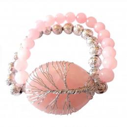 Bracelet élastique arbre de vie wrap en quartz rose - 19cm
