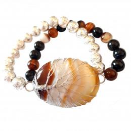 Bracelet élastique arbre de vie wrap en agate marron rayé - 19cm