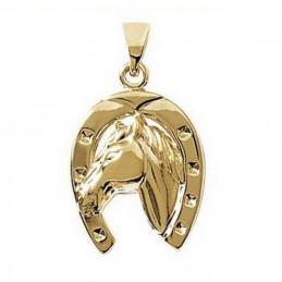 Pendentif grand  fer à cheval avec tête cheval en plaqué or + chaine