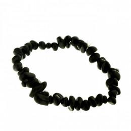 Bracelet élastique de perles chips en obsidienne noire - 50mm