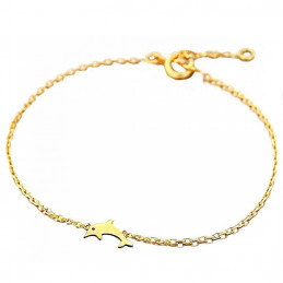 Bracelet breloque dauphin en plaqué or - 16cm