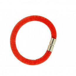Bracelet femme magnétique en maille plastique rouge avec des strass rouge