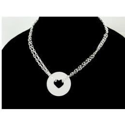 Bracelet femme enfant médaille coeur vide en argent - 18cm