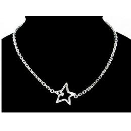 Bracelet étoile orné d'un cubic zirconium cristal en argent rhodié