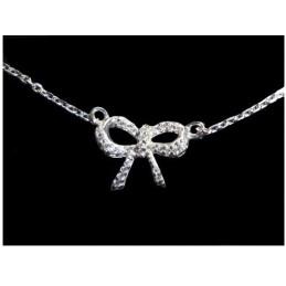 Bracelet femme enfant noeud papillon cz cristal en argent 18cm