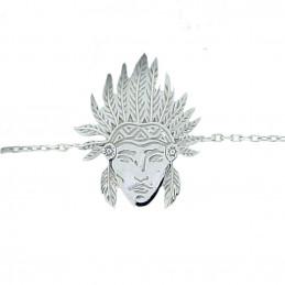 Bracelet à breloque tête d'indien en argent rhodié - 18cm