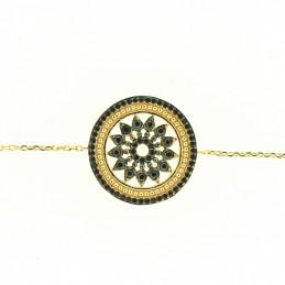 bracelet médaille ronde vitrail fleur orné de cz noir en plaqué or - 18 cm