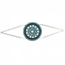 Bracelet médaille vitrail fleur orné de cz noir et turquoise en argent chaine forçat 18 cm