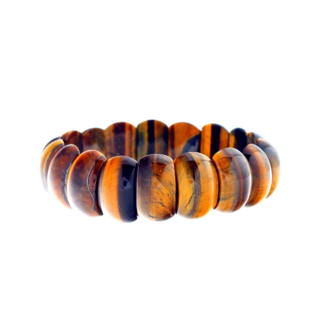 Bracelet Oeil de Taureau 22cm Sans fermoir Pierres boules 8mm