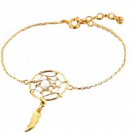 Bracelet breloque Indien attrape attrapeur de rêves 1 plume perle blanche en plaqué or