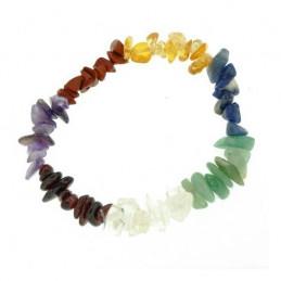 Bracelet en perles de chips 7 chakras 7 pierres citrine grenat cristal...