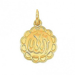 Pendentif médaille symbole Arabe Allah en plaqué or + chaîne
