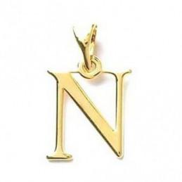 Pendentif Initiale simple lettre N en plaqué or