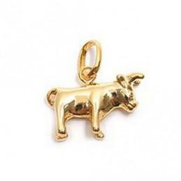 Pendentif Signe Astrologique zodiaque Taureau en plaqué or + chaine