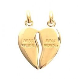 Pendentif Coeur sécable best friends meilleurs amis en plaqué or + 2 chaines