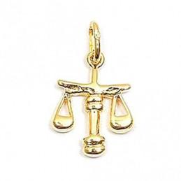 Pendentif Signe Astrologique zodiaque Balance en plaqué or + chaine