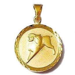 Pendentif médaille astrologique zodiaque Bélier en plaqué or