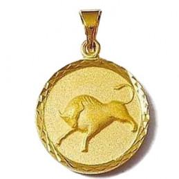 Pendentif médaille astrologique zodiaque Taureau en plaqué or