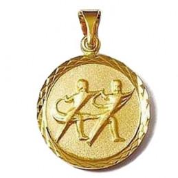 Pendentif médaille astrologique zodiaque Gémeaux en plaqué or