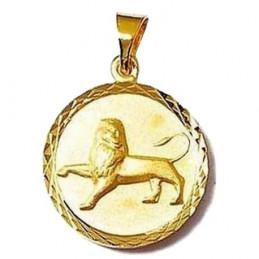 Pendentif médaille astrologique zodiaque Lion en plaqué or