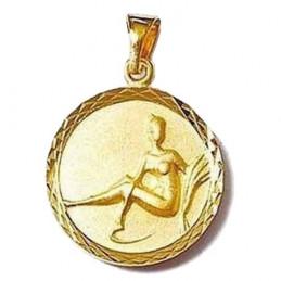 Pendentif médaille astrologique zodiaque Vierge en plaqué or