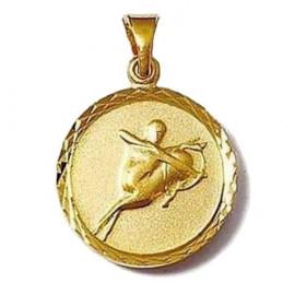 Pendentif médaille astrologique zodiaque Sagittaire en plaqué or