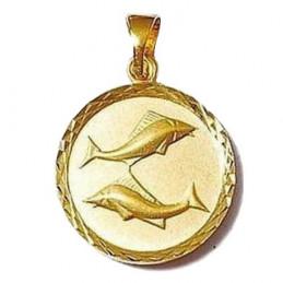 Pendentif médaille astrologique zodiaque Poissons en plaqué or