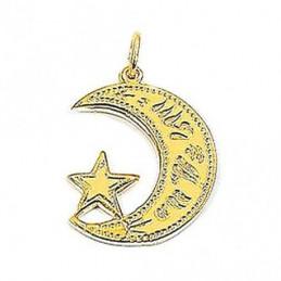 Pendentif Croissant et étoile Islam plaqué or + chaîne