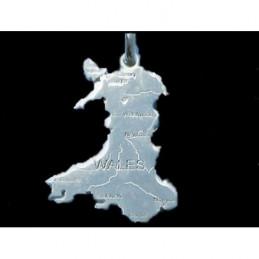 Pendentif Pays de Galles Wales en argent 925°/00 + chaine