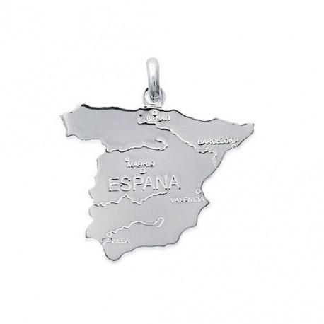 Pendentif Argent 925 Carte Portugal avec Villes