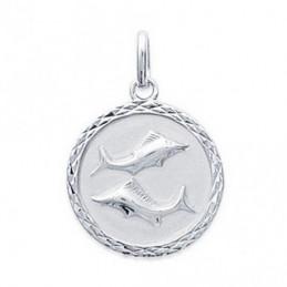 Pendentif médaille astrologique zodiaque Poissons en argent + chaine