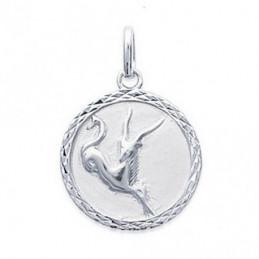 Pendentif médaille zodiaque astrologique Capricorne en argent + chaine