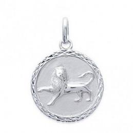 Pendentif médaille astrologique zodiaque Lion en argent + chaine