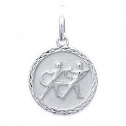 Pendentif médaille astrologique zodiaque Gémeaux en argent + chaine
