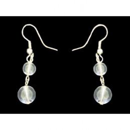 Boucles d'oreilles pendantes boule perle en cristal de roche