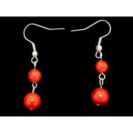 Boucles d'oreilles pendantes boules perles en corail rouge