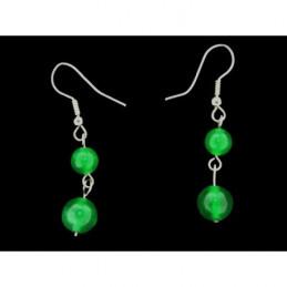Boucles d'oreilles pendantes boules perles en jade vert