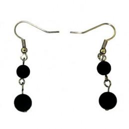 Boucles d'oreilles pendantes boules perles en onyx noir