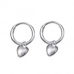 Boucles d'oreilles Créoles breloque coeur 1,2 cm 12 mm en argent 925°/00