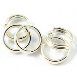Lot de 50 anneaux rond doublés argentés 6mm