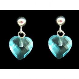 Boucles d'oreilles pendantes coeur facetté cz bleu en argent 925°/00