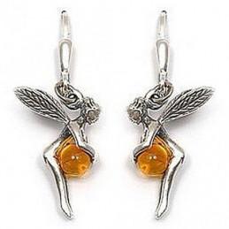 Boucles d'oreilles dormeuses fée perle d'ambre en argent 925°/00