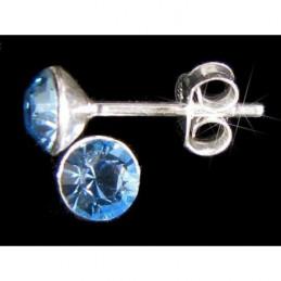 Boucles d'oreilles rond cz bleu aigue marine en argent 925°/00