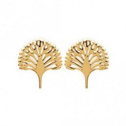 Boucles d'oreilles ravinala arbre du voyageur en Plaqué or