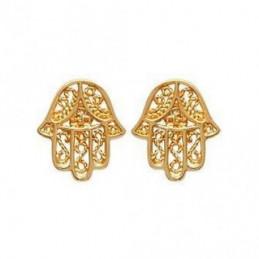 Boucles d'oreilles Main de Fatma Fatima en plaqué or