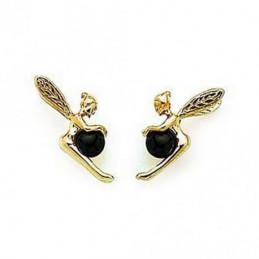 Boucles d'oreilles Fée clochette et perle d'onyx en plaqué or