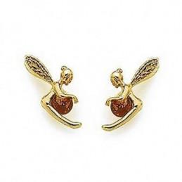 Boucles d'oreilles Fée clochette et perle d'ambre en plaqué or