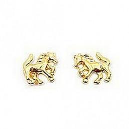 Boucles d'oreilles enfant Cheval chevaux en plaqué or